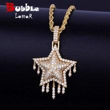 4f4b876724e9 Goteo de la estrella colgante collar de cadena libre Cadena de cuerda de  oro plata Color Bling de circón cúbico de las mujeres d.