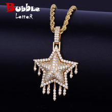 Drip Star Pendant Necklace Chain Free Rope Chain Gold Silver Color Bling Cubic Zircon Men's Women Hip hop Jewelry For Gift(China)
