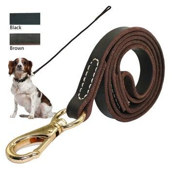 Correa de perro de cuero hecha a mano de alta resistencia plomo marrón oscuro negro con gancho de oro mejor para entrenamiento de caminar todas las razas de perros 4 tamaños