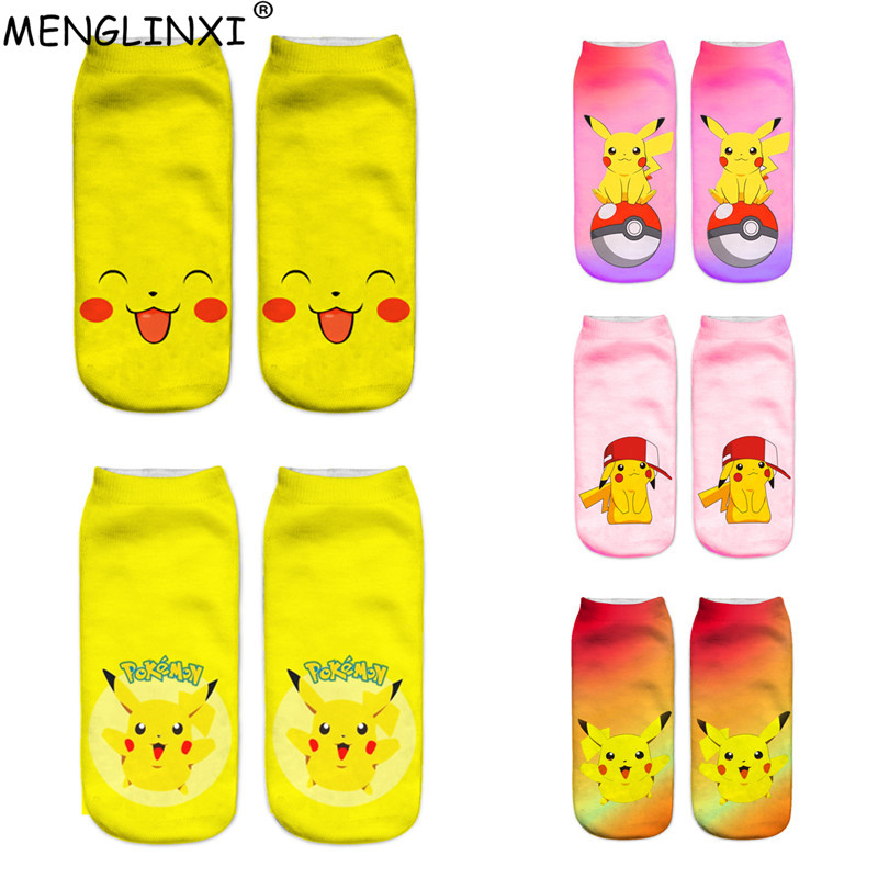 2018 Women Harajuku 3D Cute Pikachu Printed   Socks   Low Cut Short   Socks   Ankle Hosiery Meias Calcetiness Chaussette Femme   Sock