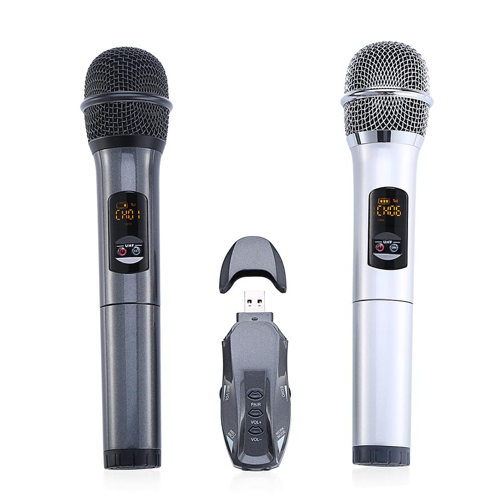 K18U Professional Bluetooth UHF Wireless Lightweight Handheld Double Microphones with Receptor Various Frequency 10 Channel excelvan k38 dual wireless microphones with receiver box various frequency high end microphonfor home entertainment conference