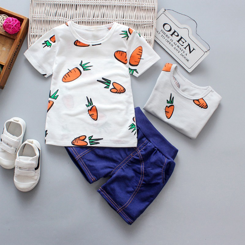 USA Toddler Baby Boys Clothes Short Sleeve Top T-Shirt Shorts Summer Outfit Set
