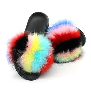 Image 4 - Pantoufles en fourrure de renard pour femmes, tongs, fourrure plate, tongs, chaussures de luxe de marque, 2019