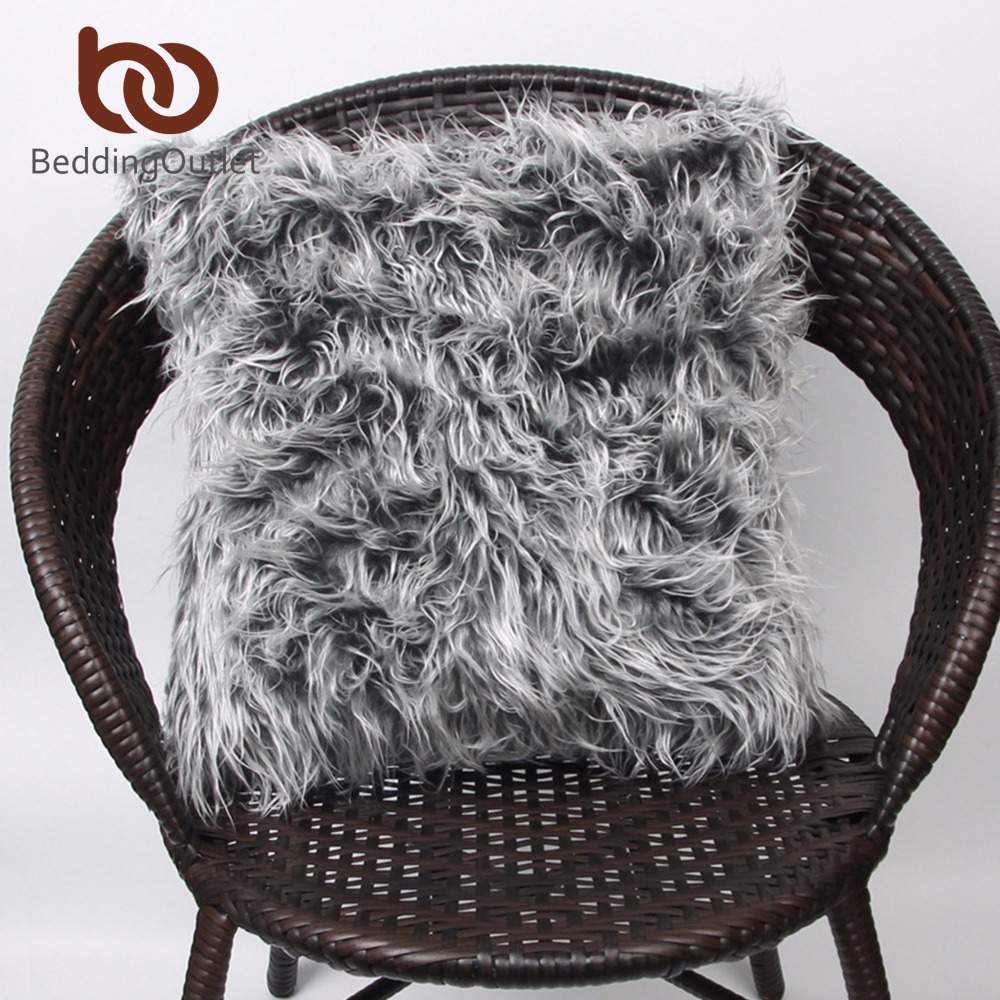 super soft plush cushion cover solid color faux fur throw pillow cover 45x45cm 18x18inch