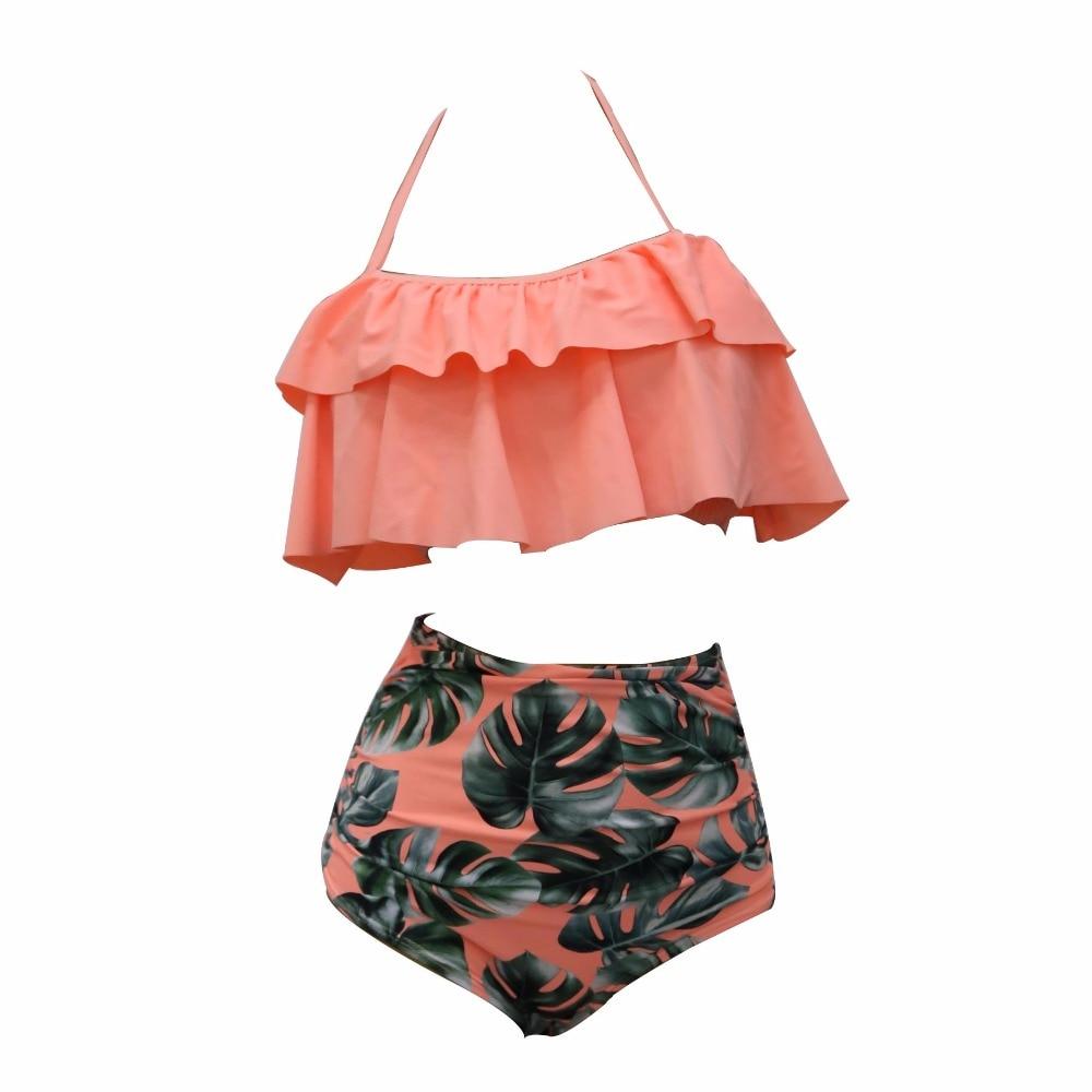 2017 Bikini Set doble Ruffle traje de baño mujeres Sexy traje de baño del hombro cintura alta Swim Wear playa trajes de baño