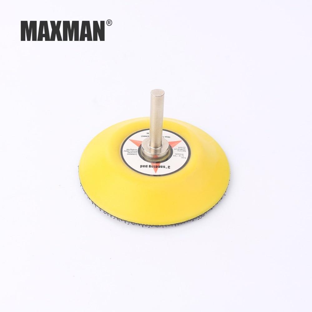 Accessori per smerigliatrice elettrica MAXMAN 2 pollici 3 pollici Vassoio per carta vetrata floccante Vassoio per autoadesione Disco abrasivo con gambo da 6 mm