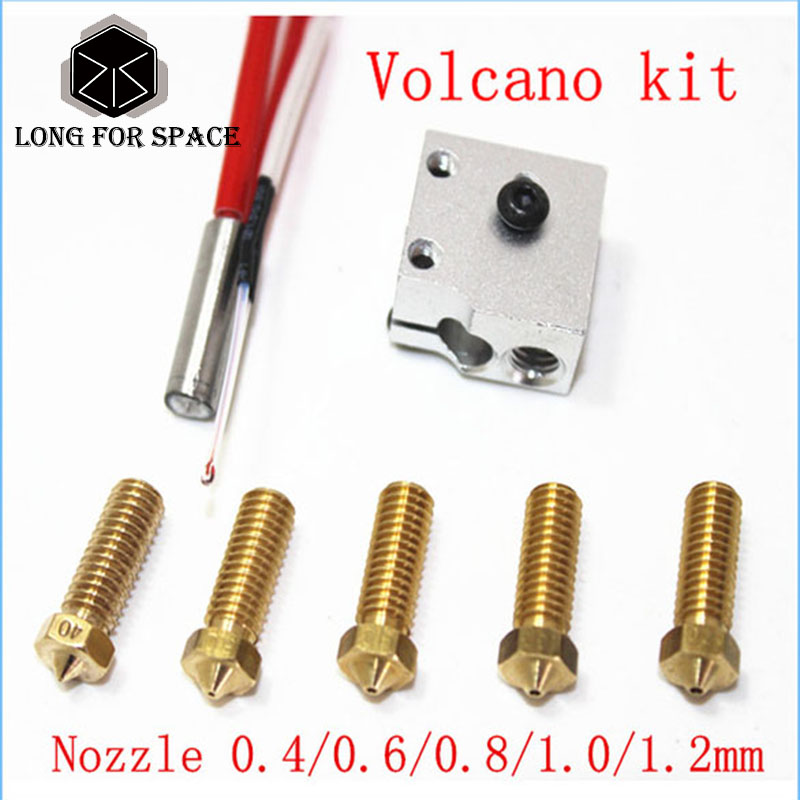 3D Printer Parts E3D Volcano Hot End Eruption Pack kit/set Heater Block+Nozzle Pack For 3D Printer Filament 1.75/3 mm