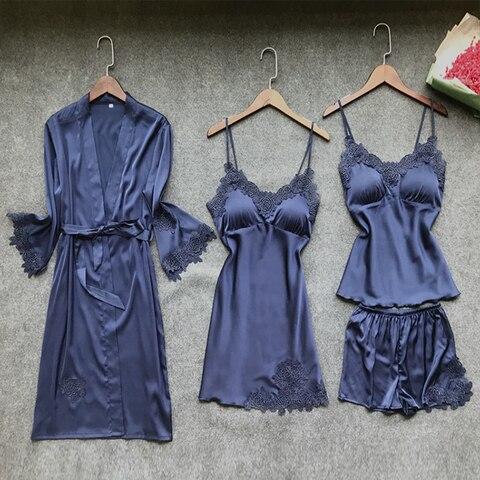 BZEL Nighties Women Pajamas Satin Sleepwear Pijama Silk Home Wear Lace Home Robe Chest Pads Sleep Lounge Pyjama Robes Sets 6 PCS Lahore