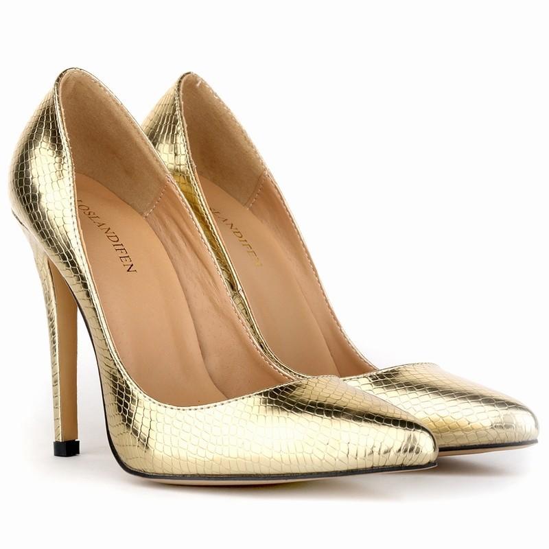 LOSLANDIFEN Sexy Crocodile Women Pumps Beauty Party Shoes Spring Summer  High Heels Shoes Wedding Gold Dress Pumps 302-1XEY 7f60939eb7f6