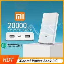 Оригинал Xiao mi power Bank 20000 мАч 2C портативное зарядное устройство Поддержка QC3.0 Dual USB mi внешний аккумулятор 20000 для мобильных телефонов