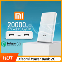 Original Xiaomi Power Bank 20000mAh 2C Portable Charger Support QC3.0 Dual USB Mi External Battery Bank 20000 for Mobile Phones