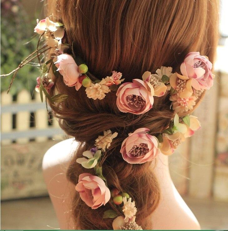 unids hecho a mano suave tela baya flor diadema nupcial del pelo guirnalda de la
