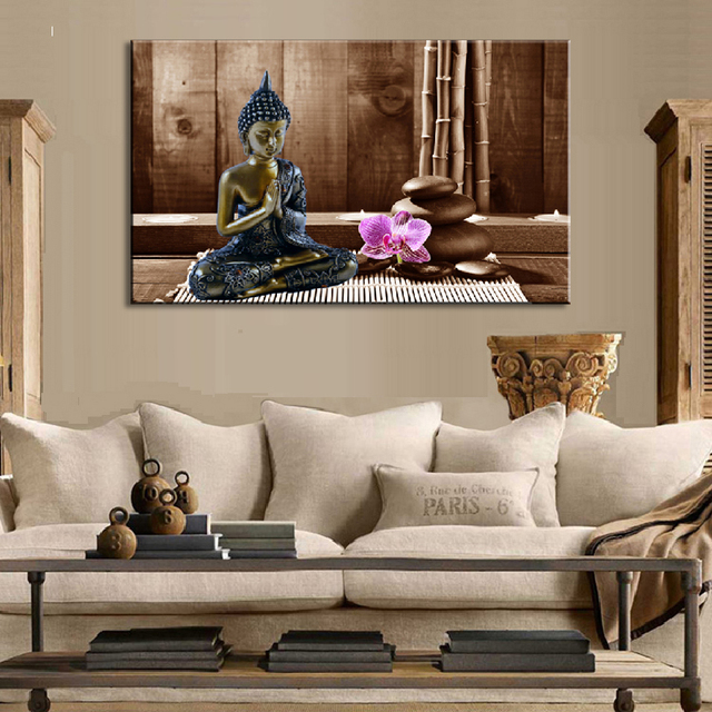1 Pcs Modern Buddha Wall Art Still Life Buddha With Flower And Stones Canvas  Printings Coffee