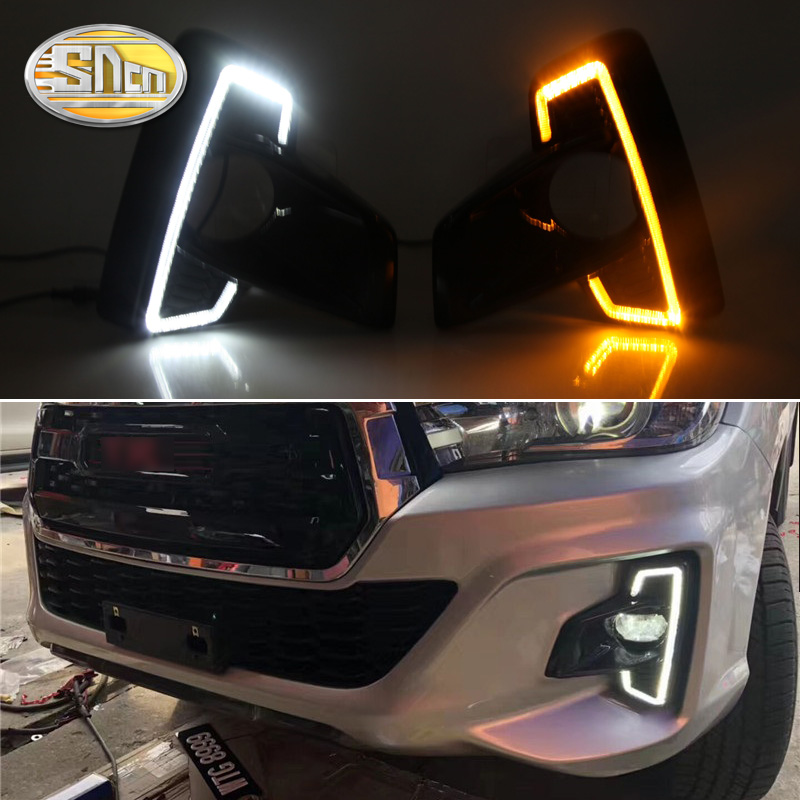 SNCN 2PCS LED Daytime Running Light For Toyota Hilux Revo Rocco 2018 2019 Turn Yellow Signal Relay Car 12V LED DRL Daylight 2015 2017 car wind deflector awnings shelters for hilux vigo revo black window deflector guard rain shield fit for hilux revo