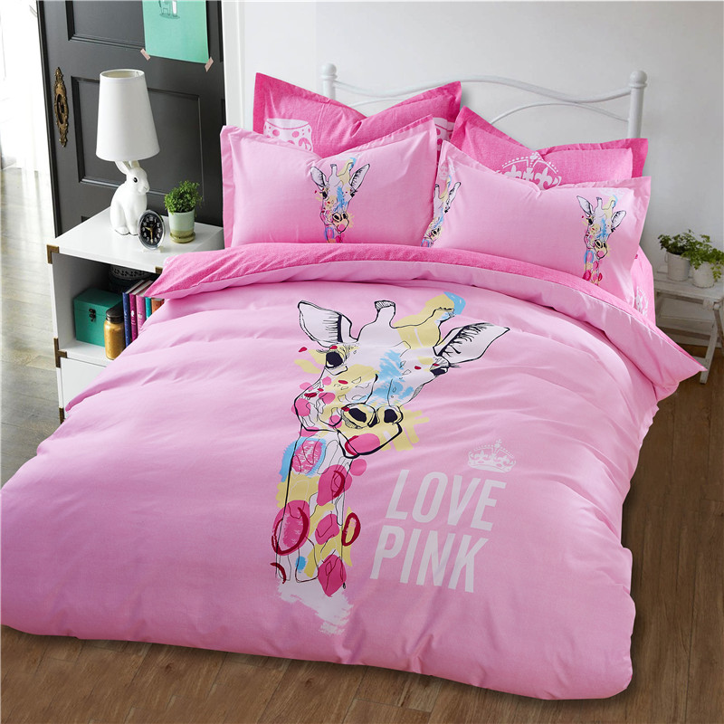 venta caliente nuevo amor pink kids juego de cama para nias llanura byed funda nrdica