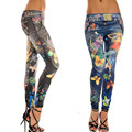 Feitong Women's Jeans Jeggings Stretchy Slim Floral Print Leggings Soft Pants Polyester Spandex Jeggings Pantalones Mujer #1