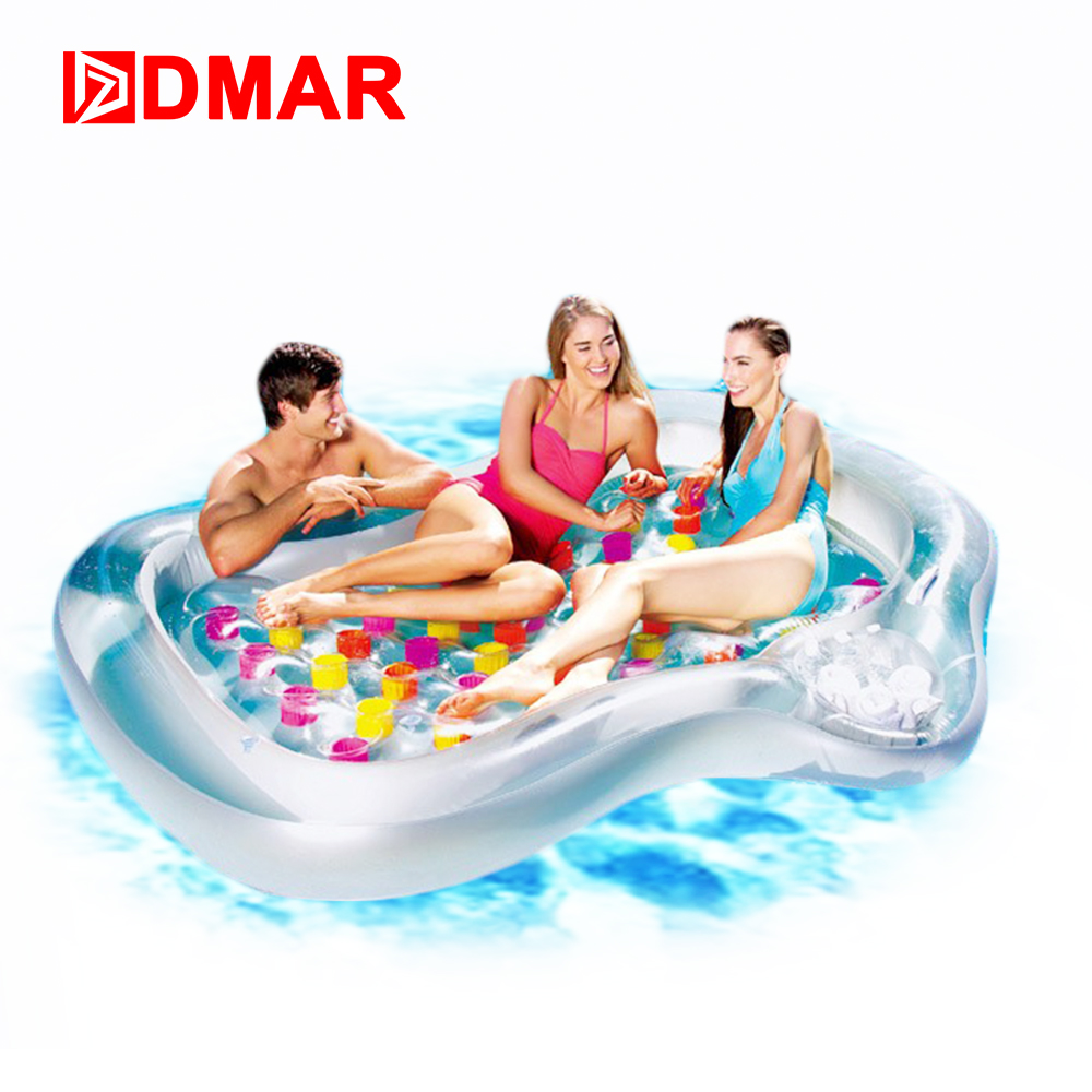 DMAR 216cm 85inch Giant Inflatable Bed Sunbathe Mattress Pool Float Toys Inflatable Floating Row Swimming Ring Circle Party giant pool float shells inflatable in water floating row pearl ball scallop aqua loungers floating air mattress donuts swim ring