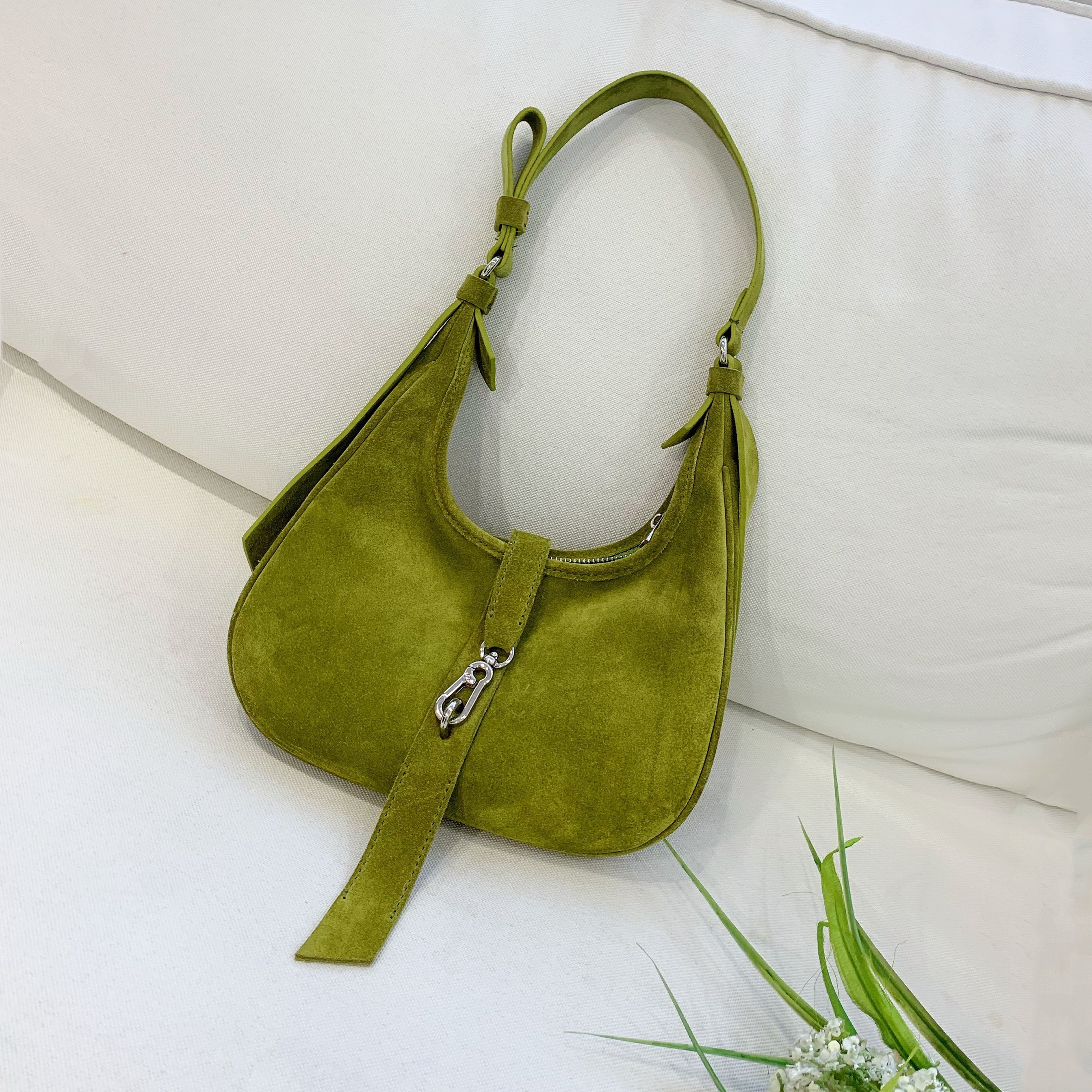 Top handle Bags Female Leisure Nubuck Casual Handbag Trendy Suede Leather Green Handbag Free Shipping Designer