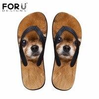 FORUDESIGNS 3D Pomeranians Pattern Women Fashion Flip Flops Cute Animal Cat Dog Summer Slippers For Woman
