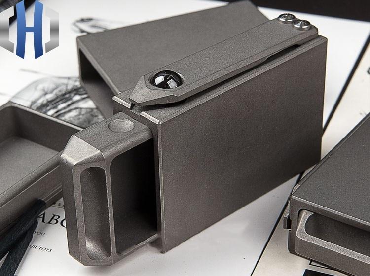 Creative Portable Compact EDC Titanium Alloy Draw Matchbox Outdoor Tactical Storage BoxCrowbars   -