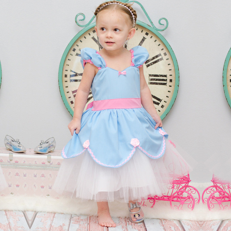 U-SWEAR 2019 New Arrival Blue Kid Cinderella   Flower     Girl     Dress     Flower   Appliqued Lace Side Ball Gown   Flower     Girl   Pageant   Dresses