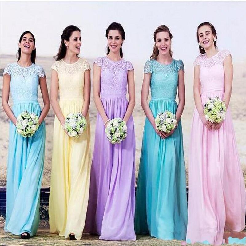 Purple Pink Sky Blue Yellow Chiffon Long Bridesmaid