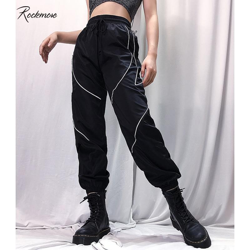 Rockmore Reflective Stripe Pencil Pants Women High Waist Korea Harajuku Panelled Trousers Oversized Long Pant Femme Fall Autumn