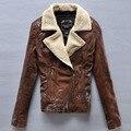 Chaqueta de cuero marrón de las mujeres 2016 cuello de piel chaqueta de cuero genuino de las señoras de piel de oveja chaqueta de cuero otoño invierno envío gratis