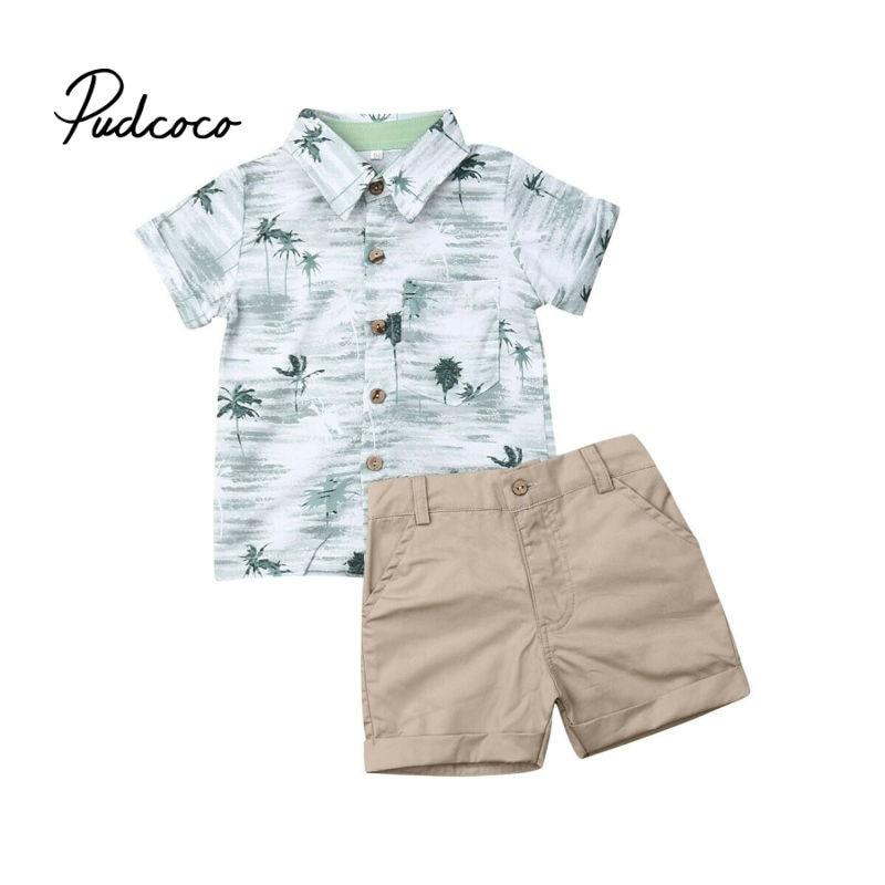 Детская летняя одежда, комплект из 2 предметов, футболка с кокосовой пальмой для маленьких мальчиков + шорты, штаны, одежда с короткими рукав...