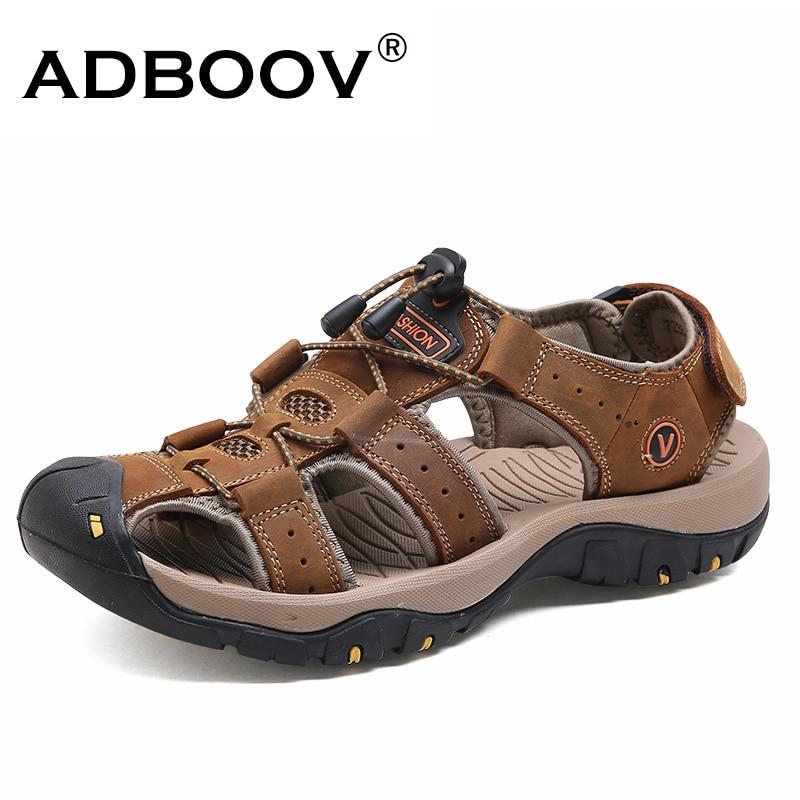 ADBOOV Genuine Leather Men Sandals Comfortable Summer Outdoor Shoes Beach Casual Shoes Sandalias Hombre Big Size 39-46