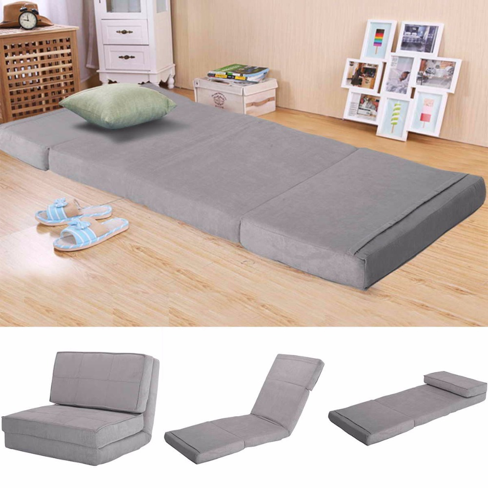 Goplus Suede Fold Down Chair Flip Out Lounger Convertible Sleeper Bed Couch Game Dorm Guest Sofa