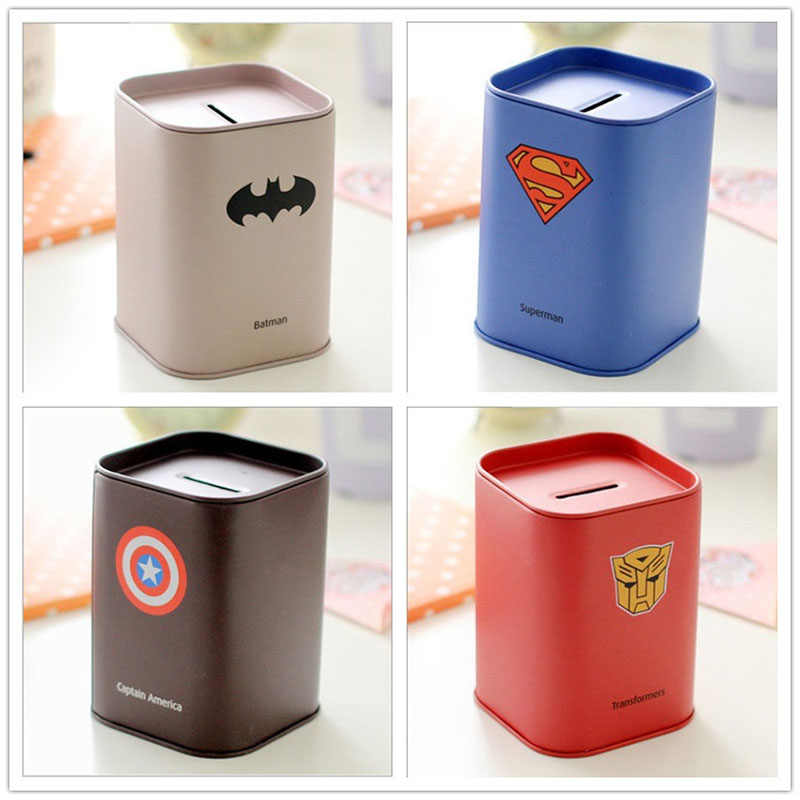 Creative Cartoon Tinplate Piggy Bank League Of Legends Superman Money Box  Coin Boxes Safe For Money Crafts Gifts Home Decoration