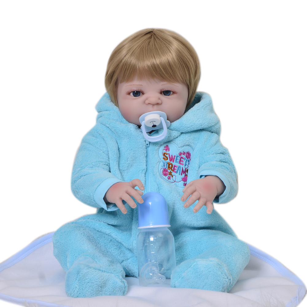 Newborn Doll 23'' Lifelike Reborn Silicone Doll 57 Cm Full Vinyl Realistic Bebe Reborn Menino With Gold Hair Kid Play Toy Gifts цена