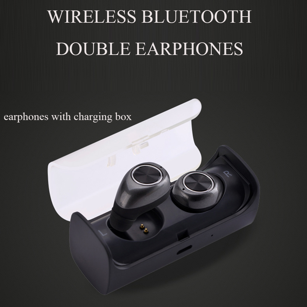 TWS Waterproof  Wireless Bluetooth Earphone For Mobile Phone Professional Headset Stereo Bass With Mic Charger Station Box universal led sport bluetooth wireless headset stereo earphone ear hook headset for mobile phone with charger cable