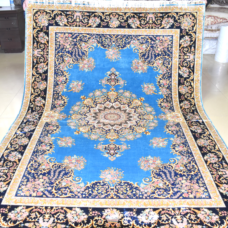 mingxin 6x9 feet flower modern carpet persian rug handmade tabriz hand knotted carpet for living room large rugs room mat tapete