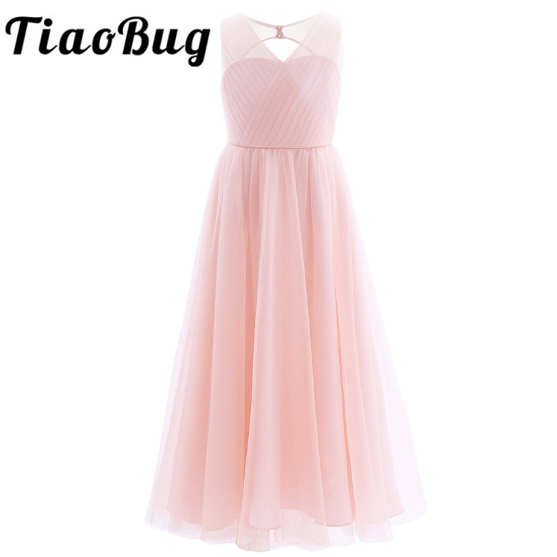 TiaoBug 2018 Girls Pleated Mesh Cutout Back Flower Girl Dress Floor Length Splice Shoulder Straps Sleeveless Wedding Party Dress-in Flower Girl Dresses from Weddings & Events