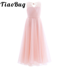 TiaoBug 2018 Girls Pleated Mesh Cutout Back Flower Girl Dress Floor-Length Splice Shoulder Straps Sleeveless Wedding Party Dress(China)