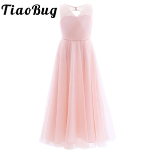 Image 1 - TiaoBug 2020 Girls Pleated Mesh Cutout Back Flower Girl Dress Floor Length Splice Shoulder Straps Sleeveless Wedding Party Dress