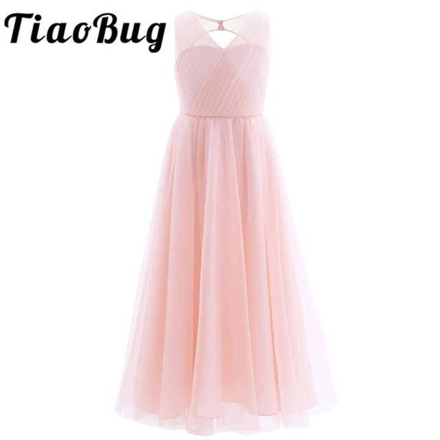 TiaoBug 2020 Girls Pleated Mesh Cutout Back Flower Girl Dress Floor Length Splice Shoulder Straps Sleeveless Wedding Party Dress