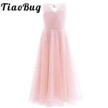 TiaoBug 2020 Mädchen Plissee Netz Ausschnitt Zurück Blume Mädchen Kleid Boden Länge Splice Schulter Trägern Ärmellose Hochzeit Party Kleid