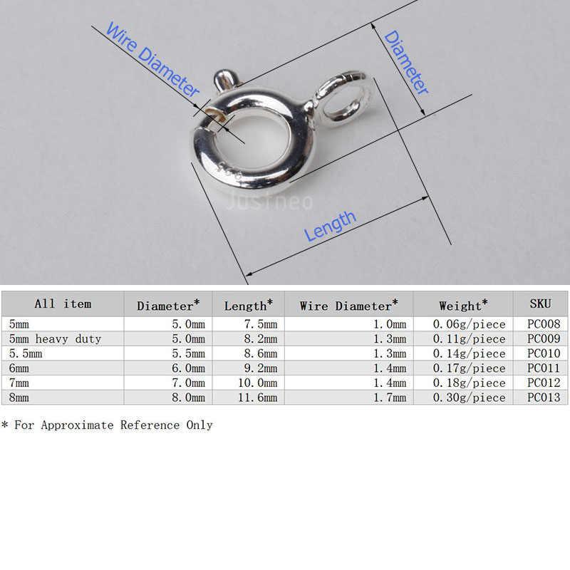 Sólido 925 prata esterlina anel de mola fecho com anel de salto aberto anexado 5-8mm, 1 peça