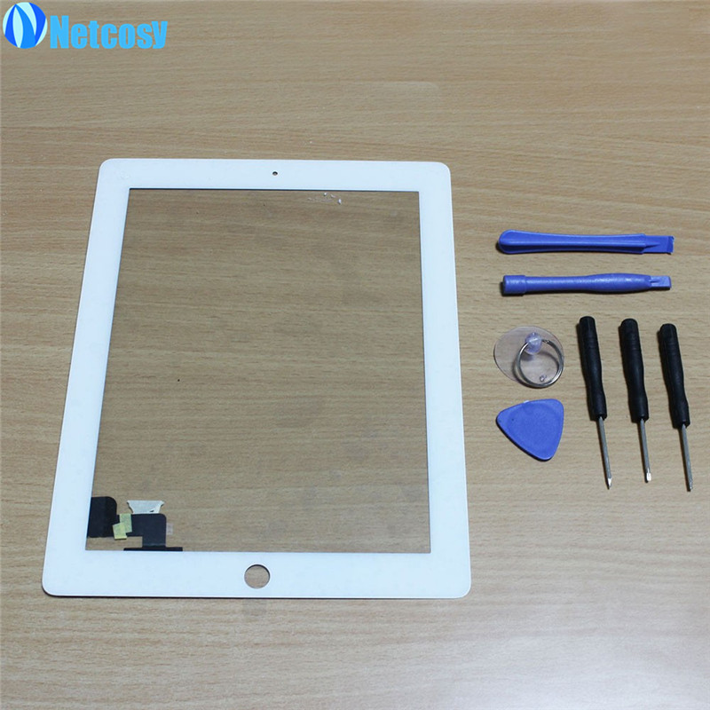 Netcosy NEW white Black Touch Screen Digitizer Panel Glass for iPad 2 Screen Sensor + 7 in 1 Opening Tools Kit