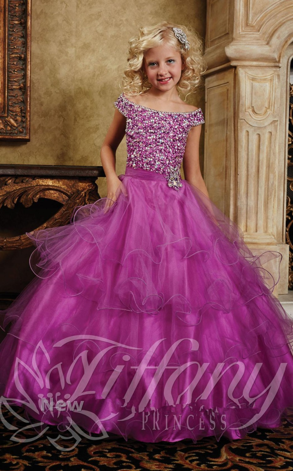 Fuschia Princess Kids Beauty Pageant Ball Gown Dresses For
