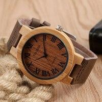 Creative Trendy Wrist Watch Women Hot Genuine Leather Band Strap Nature Wood Wooden Bamboo Quartz Men