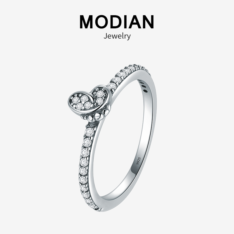 Modian Sparkling Clear Zircon Ring 100% 925 Sterling Silver Vintage Butterfly Stackable Fashion Rings For Women Wedding Jewelry