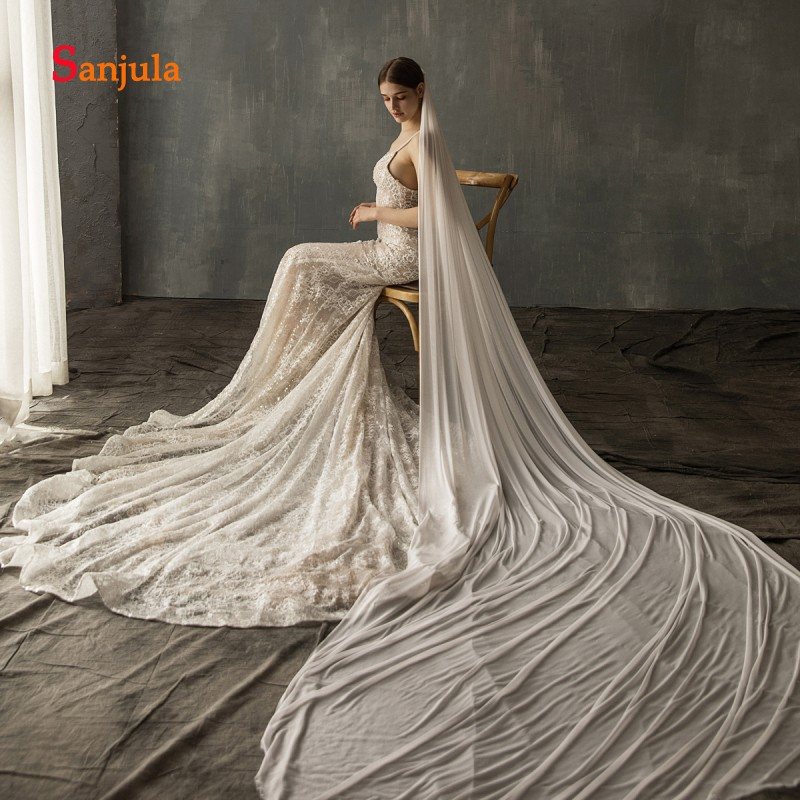 3 Meters High Quality Tulle Veil for Bridal Cathedral Long Wedding Veils 1Meter 2 Meters On Sale mantilha de noiva V121 in Bridal Veils from Weddings Events