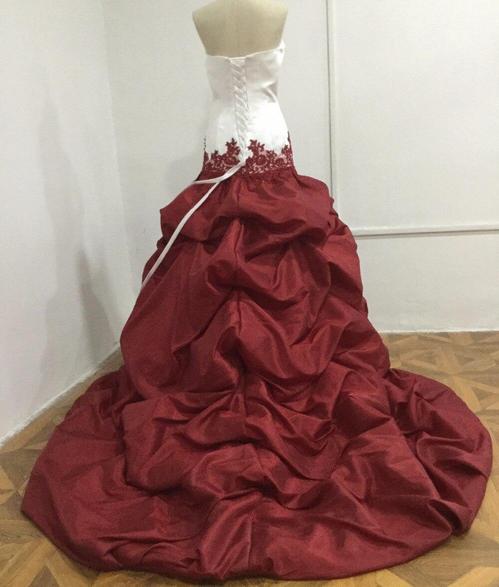 タフタの恋人ホワイトブルゴーニュ高値安値ウェディングドレスで列車ピックアップふくらんスカート  グループ上の ウェディング & イベント からの ウェディングドレス の中 2