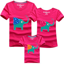 1Piece New Family Look Cartoon elephant T Shirts 8 Colors Summer Family Matching Clothes Father & Mother & Kids Cartoon Outfits