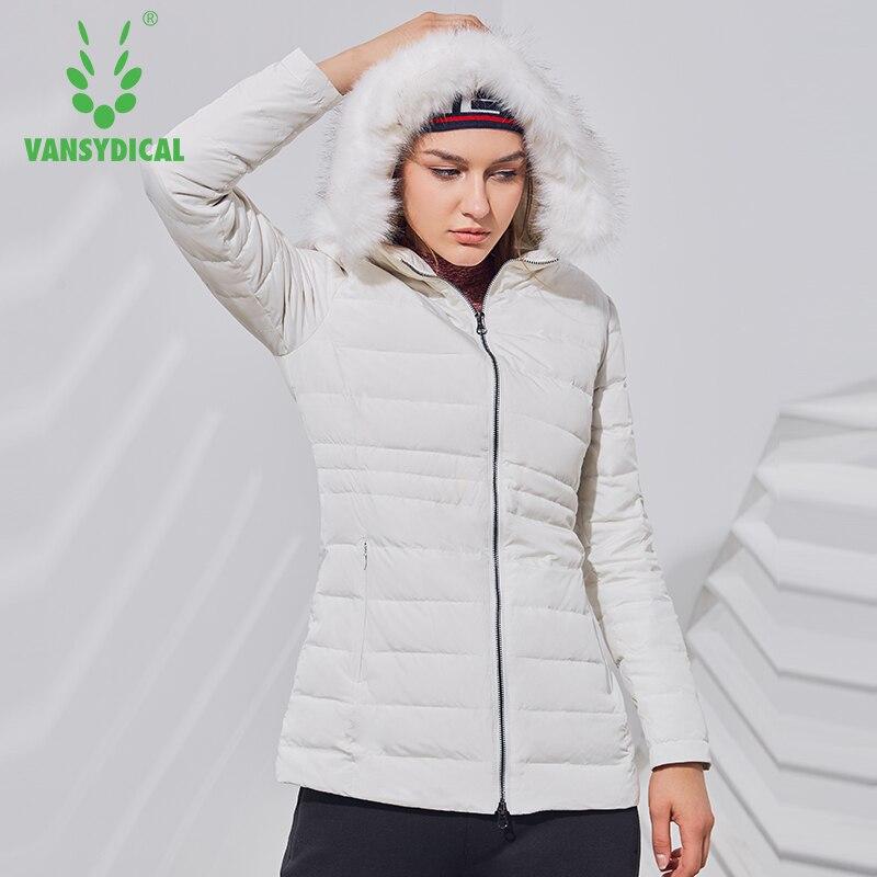 Vansydical зимний спортивный пуховик для бега, женская теплая ветрозащитная спортивная одежда, верхняя одежда с капюшоном, белые пуховики на ути