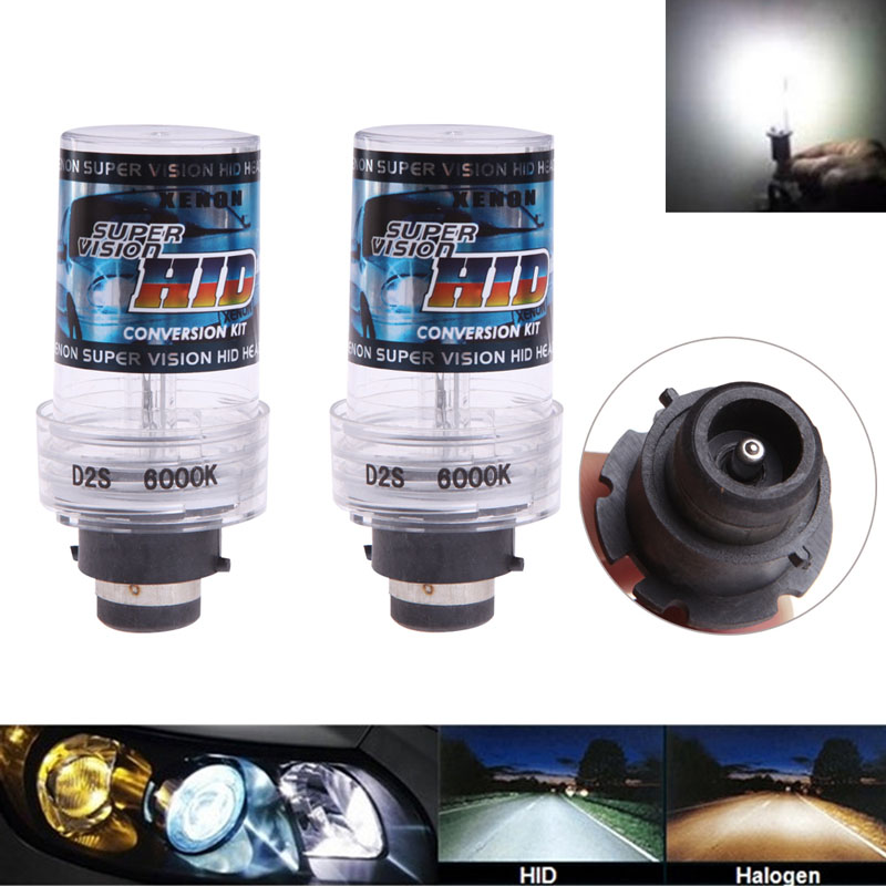 2Pcs 35W 6000K D2S/D2C Xenon Car Replacement HID White Headlight Light Bulbs Car Light Source-D2TB replacement d2c 35w 3000lm 6000k white light hid xenon lamp bulb headlight for car 2 pcs